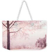 Surreal Infrared Dreamy Pink And White Park Bench Tree Nature Landscape Weekender Tote Bag