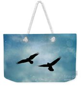 Surreal Ravens Crows Flying Blue Sky Stars Weekender Tote Bag
