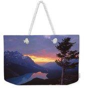 1m3607-sunset Over Peyto Lake Weekender Tote Bag