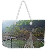 Suspension Bridge Over The Seti River In Nepal Weekender Tote Bag