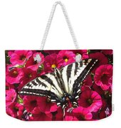Swallowtail Butterfly Full Span On Fuchsia Flowers Weekender Tote Bag