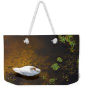 Swan With Sun Reflection On Water. Weekender Tote Bag