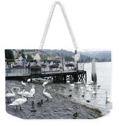 Swans And Ducks In Lake Lucerne In Switzerland Weekender Tote Bag