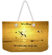 Swans Flying Over The Water Weekender Tote Bag