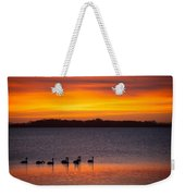 Swans In The Sunrise Weekender Tote Bag
