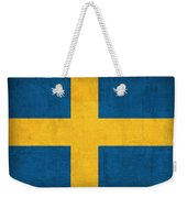 Sweden Flag Vintage Distressed Finish Weekender Tote Bag