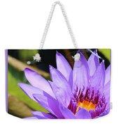 Sweet Dragonfly On Purple Water Lily Weekender Tote Bag