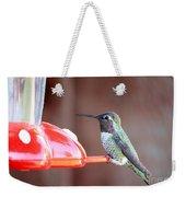 Sweet Little Hummingbird On Feeder Weekender Tote Bag