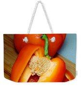 Sweet Orange Peppers On Bamboo Cutting Board Weekender Tote Bag