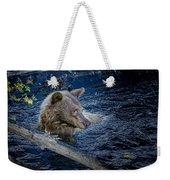 Black Bear On Blue Weekender Tote Bag