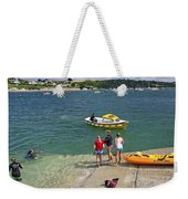 Swimmers On The Slipway - St Mawes Weekender Tote Bag