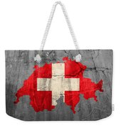 Switzerland Flag Country Outline Painted On Old Cracked Cement Weekender Tote Bag