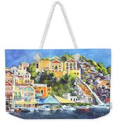 Symi Harbor The Grecian Isle  Weekender Tote Bag