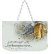Sympathy Greeting Card - Poem And Milkweed Pods Weekender Tote Bag