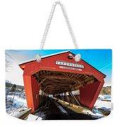 Taftsville Covered Bridge In Vermont In Winter Weekender Tote Bag