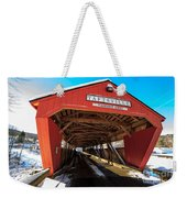Taftsville Covered Bridge In Vermont In Winter Weekender Tote Bag by Edward Fielding