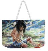 Tahitian Boy With Knife Weekender Tote Bag