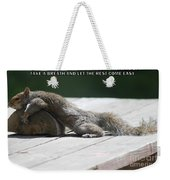Take A Breather With Caption Weekender Tote Bag