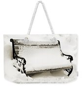Take A Seat  And Chill Out - Park Bench - Winter - Snow Storm Bw 2 Weekender Tote Bag