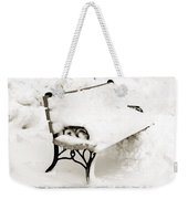 Take A Seat  And Chill Out - Park Bench - Winter - Snow Storm Bw Weekender Tote Bag