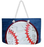 Take Me Out To The Ballgame License Plate Art Lettering Vintage Recycled Sign Weekender Tote Bag