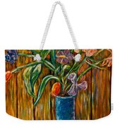 Tall Blue Vase Weekender Tote Bag