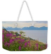 Tall Fireweed And Cow Parsnip Over Cook Inlet Near Homer- Ak Weekender Tote Bag