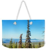 Tall Pine Trees And Hilly Background Weekender Tote Bag
