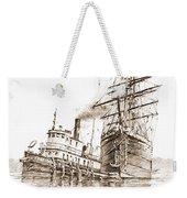 Tall Ship Assist Sepia Weekender Tote Bag