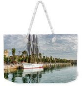 Tall Ships And Palm Trees - Impressions Of Barcelona Weekender Tote Bag
