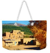 Taos Pueblo South In Autumn Weekender Tote Bag