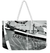 Tarpon Springs Spongeboat Black And White Weekender Tote Bag