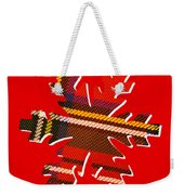 Tartan Snowflake On Red Weekender Tote Bag