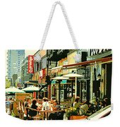 Tavern In The Village Urban Cafe Scene - A Cool Terrace Oasis On A Busy Hot Montreal City Street Weekender Tote Bag