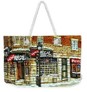 Taverne La Chic Regal Pointe St.charles Jazz Bar Montreal Paintings Winter Street Scene Original Art Weekender Tote Bag