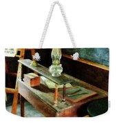 Teacher - Teacher's Desk With Hurricane Lamp Weekender Tote Bag by Susan Savad