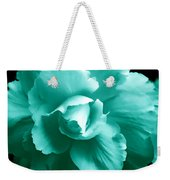 Teal Green Begonia Floral Weekender Tote Bag by Jennie Marie Schell