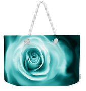 Teal Rose Flower Abstract Weekender Tote Bag