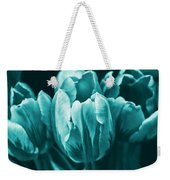 Teal Tulip Flowers Weekender Tote Bag