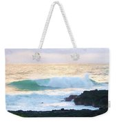 Teal Wave On Golden Waters Weekender Tote Bag