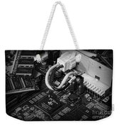 Technology - Motherboard In Black And White Weekender Tote Bag by Paul Ward
