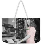 Teletype Girl Weekender Tote Bag