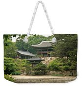 Temple By Lake And Forest Seoul South Korea Weekender Tote Bag