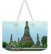 Temple Of The Dawn-wat Arun From Waterways Of Bangkok-thailand Weekender Tote Bag