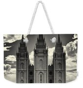 Temple Square Black And White Weekender Tote Bag