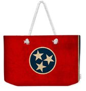 Tennessee State Flag Art On Worn Canvas Weekender Tote Bag