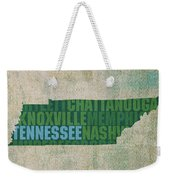 Tennessee Word Art State Map On Canvas Weekender Tote Bag by Design Turnpike