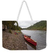 Tents And Canoes At Mcquesten River Yukon Canada Weekender Tote Bag