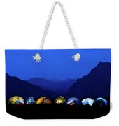 Tents Illuminated Near Mountains Weekender Tote Bag