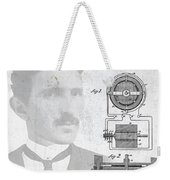 Tesla And The Electro Magnetic Motor Patent Weekender Tote Bag